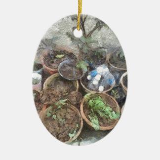 Potes en huerto adorno navideño ovalado de cerámica
