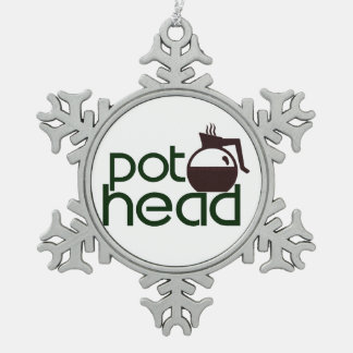 Pothead Snowflake Pewter Christmas Ornament