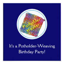 Potholder Weaving Birthday Party Personalized Invitation