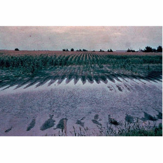 Pothole in cornfield proposed to be drained photo cut out