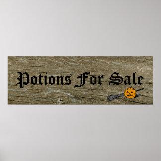 Potions, Halloween Pumpkin Black Bats Broomstick Poster