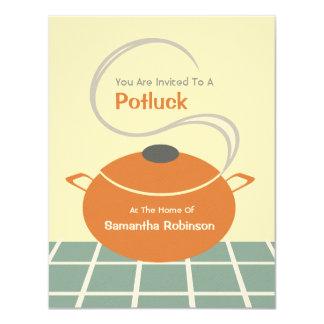 """Potluck invita - a la cocina anaranjada y azul invitación 4.25"""" x 5.5"""""""