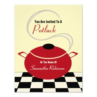"""Potluck invita - a la cocina blanca y roja negra invitación 4.25"""" x 5.5"""""""
