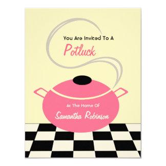 """Potluck invita - a la cocina blanca y rosada negra invitación 4.25"""" x 5.5"""""""
