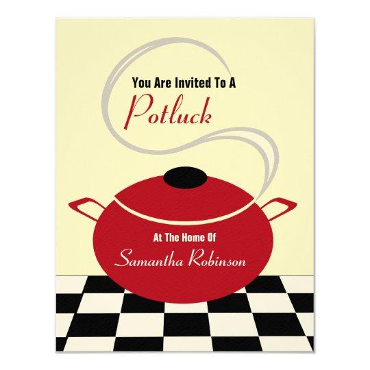 Potluck Invite Black White Red Kitchen Zazzle Com