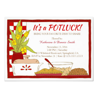 Potluck Party Dinner or Lunch Birthday 4.5x6.25 Paper Invitation Card