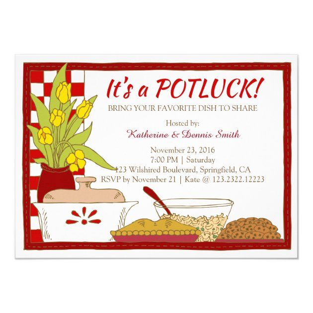 potluck party dinner or lunch birthday card