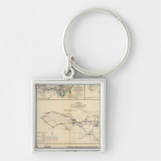 Potomac Army operations Silver-Colored Square Keychain