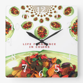 Potpourri Beautiful time Life Fragrance in color Square Wall Clock