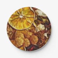 Potpourri Oranges Fractal 7 Inch Paper Plate