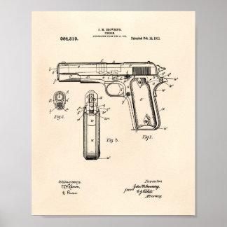 Potro .45 arte de 1911 patentes - Peper viejo Póster