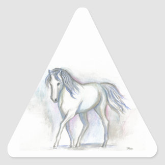 Potro blanco pegatina triangular