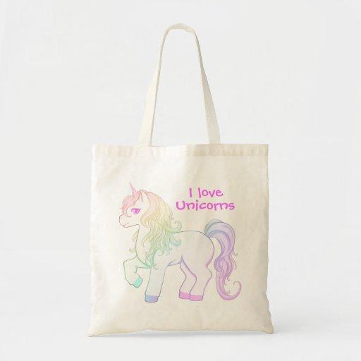 Potro coloreado arco iris lindo del unicornio del  bolsa tela barata