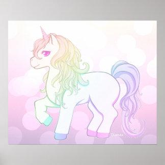 Potro coloreado arco iris lindo del unicornio del póster