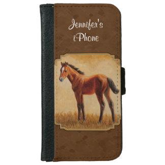 Potro cuarto Brown del caballo de la bahía Funda Cartera Para iPhone 6