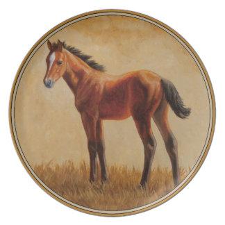 Potro cuarto del caballo de la bahía plato para fiesta