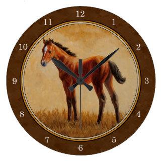 Potro cuarto del caballo de la bahía reloj redondo grande