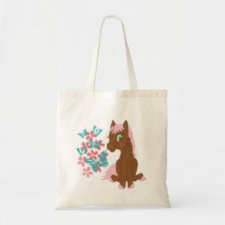 Potro de Brown con el bolso de las flores y de las Bolsas Lienzo