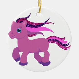 potro de la púrpura del kawaii adorno navideño redondo de cerámica