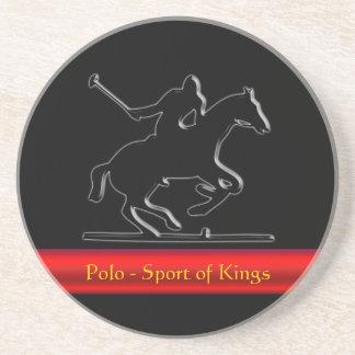 Potro de polo y jinete negros raya roja de la cro posavasos diseño