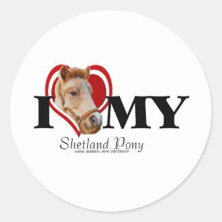 Potro de Shetland en Corazón-Pegatina Pegatina Redonda