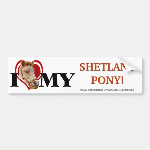 Potro de Shetland en pegatina rojo del Corazón-Par Pegatina De Parachoque
