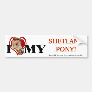 Potro de Shetland en pegatina rojo del Corazón-Par Pegatina Para Auto