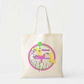 Potro del carrusel con rosa y verde de rosas bolsa tela barata
