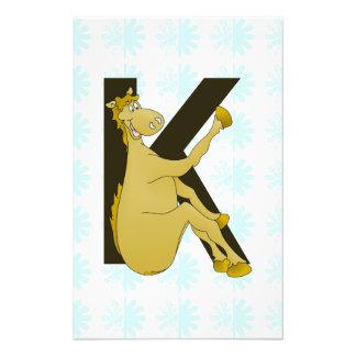 Potro del dibujo animado del monograma K Fotografía