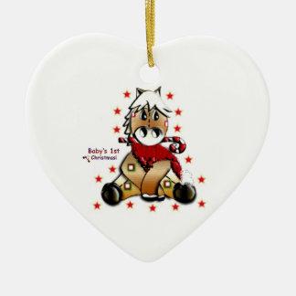 Potro del navidad adorno navideño de cerámica en forma de corazón