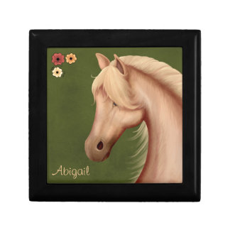 Potro del Palomino y caballo personalizados de las Joyero Cuadrado Pequeño