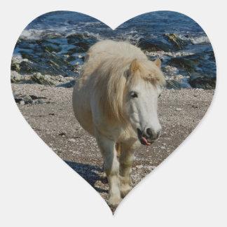Potro del sur de Devon Shetland que camina en la Pegatina En Forma De Corazón