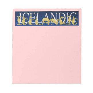 Potro flexible islandés del alfabeto bloc de notas
