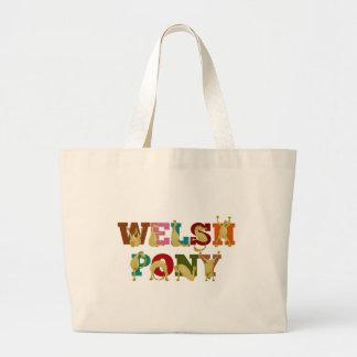 Potro galés con el texto colorido bolsa tela grande