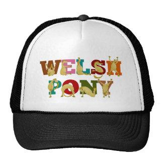 Potro galés con el texto colorido gorras de camionero