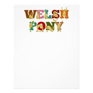 Potro galés con el texto colorido membrete