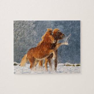 Potro islandés de los caballos que juega en nieve puzzle