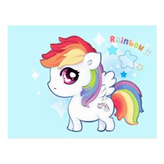 Potro lindo del arco iris de Kawaii con las estrel Postales