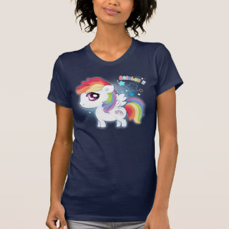 Potro lindo del arco iris del kawaii playera