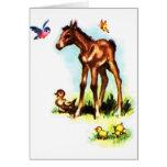 Potro lindo del bebé del potro del caballo felicitacion