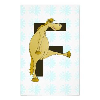 Potro lindo F del monograma del dibujo animado Cojinete