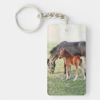 Potro miniatura del caballo - potro y potra modifi llavero rectangular acrílico a doble cara