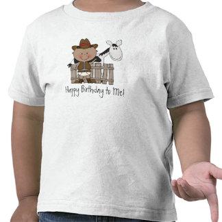 Potro negro y blanco del cumpleaños - muchachos camiseta