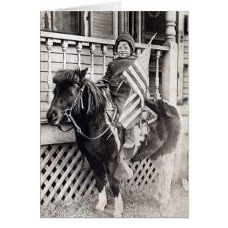 Potro patriótico del montar a caballo del muchacho felicitacion