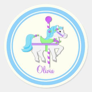 Potro pintado azul claro y PurpleCarousel Etiquetas Redondas