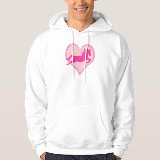 Potro y corazón de salto rosados sudadera