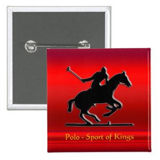Potro y jinete negros de polo en cromo-mirada roja pin cuadrado