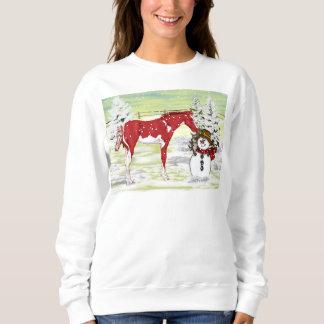 Potro y muñeco de nieve del caballo del navidad sudadera