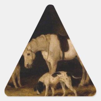 Potro y perros de Guillermo Shayer Pegatina Triangular