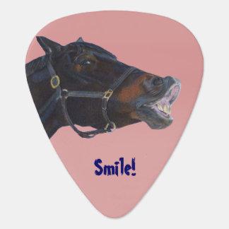 Potro y una sonrisa plumilla de guitarra
